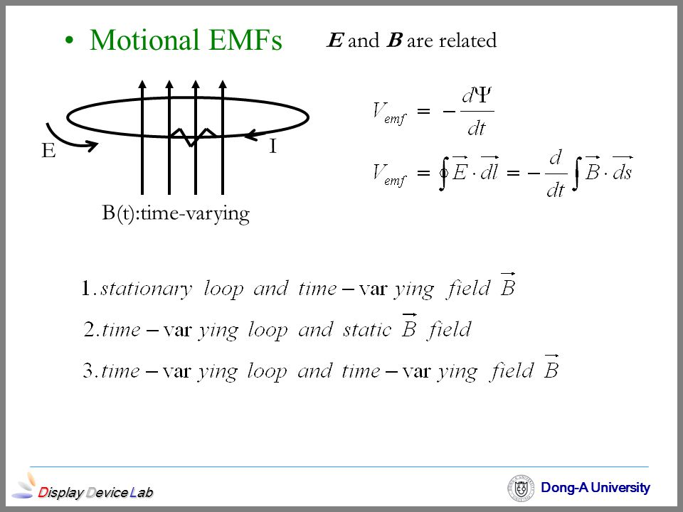 Motional EMFs E and B are related B(t):time-varying I E
