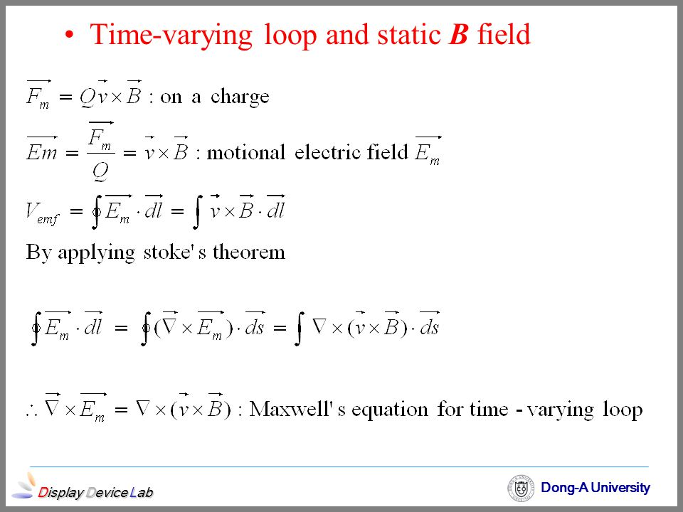 Time-varying loop and static B field
