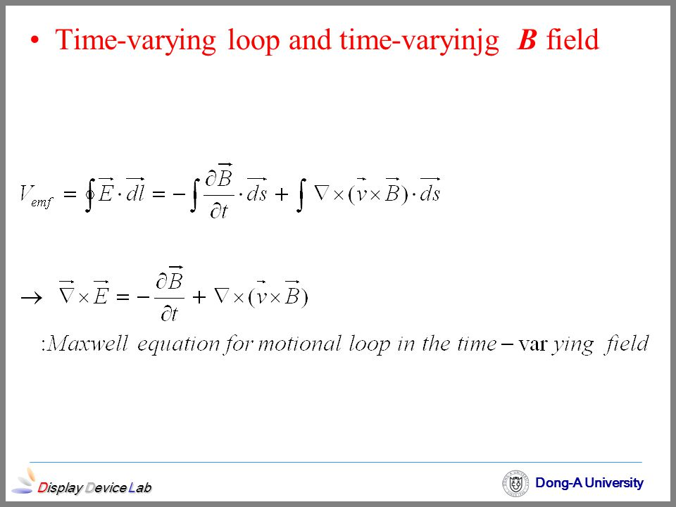 Time-varying loop and time-varyinjg B field