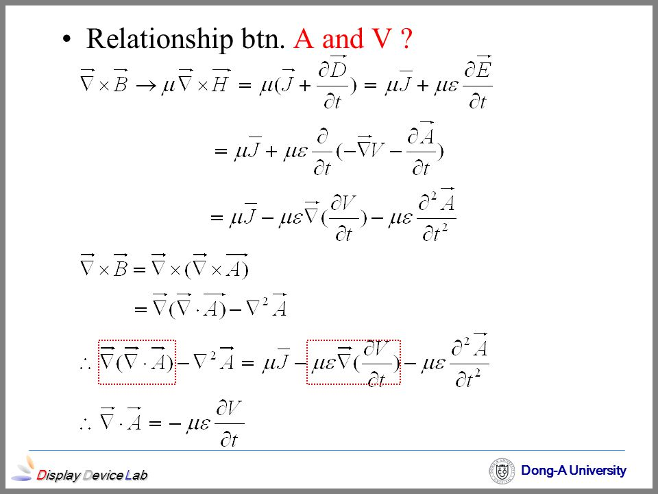 Relationship btn. A and V