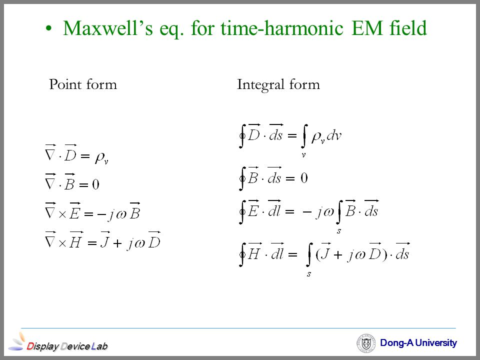 Maxwell's eq. for time-harmonic EM field