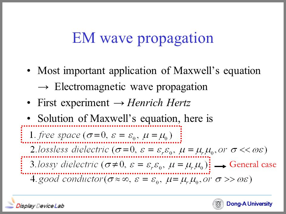 EM wave propagation Most important application of Maxwell's equation