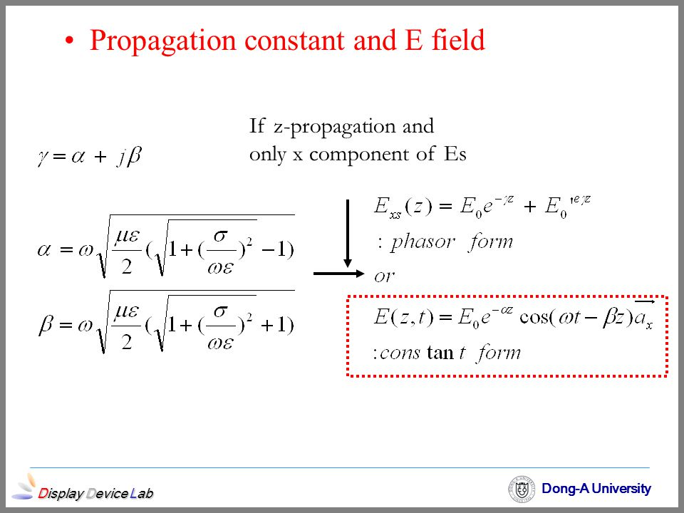 Propagation constant and E field