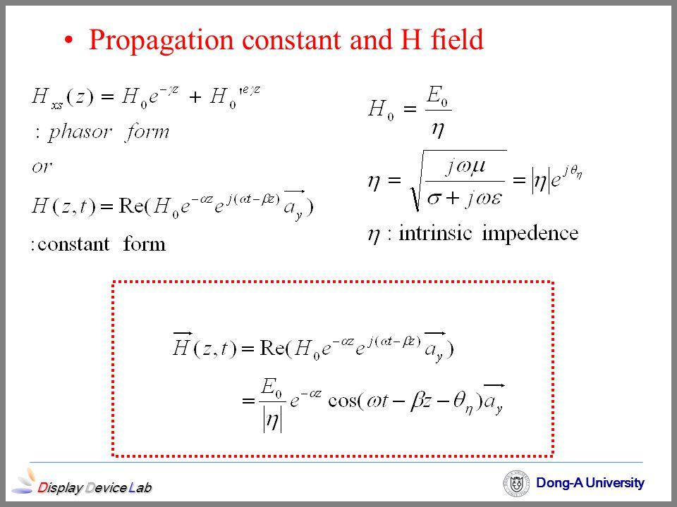 Propagation constant and H field