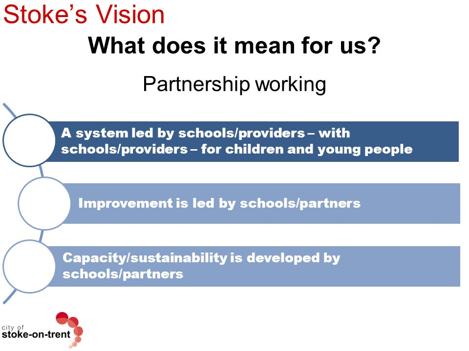 Stoke's Vision What does it mean for us Partnership working