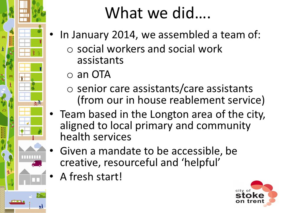 What we did…. In January 2014, we assembled a team of: