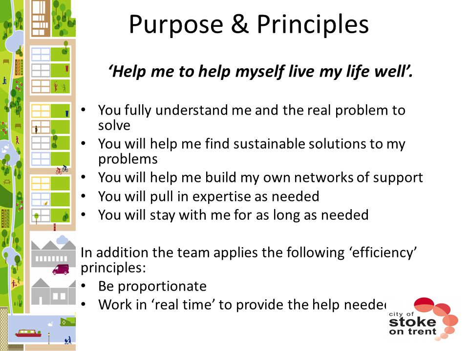 'Help me to help myself live my life well'.
