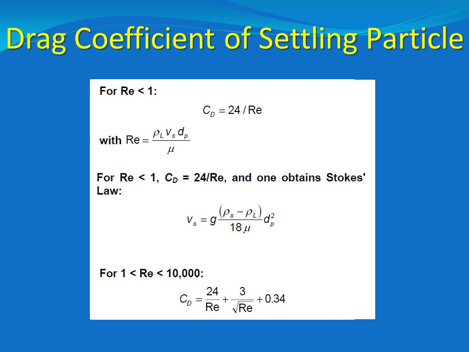 Drag Coefficient of Settling Particle