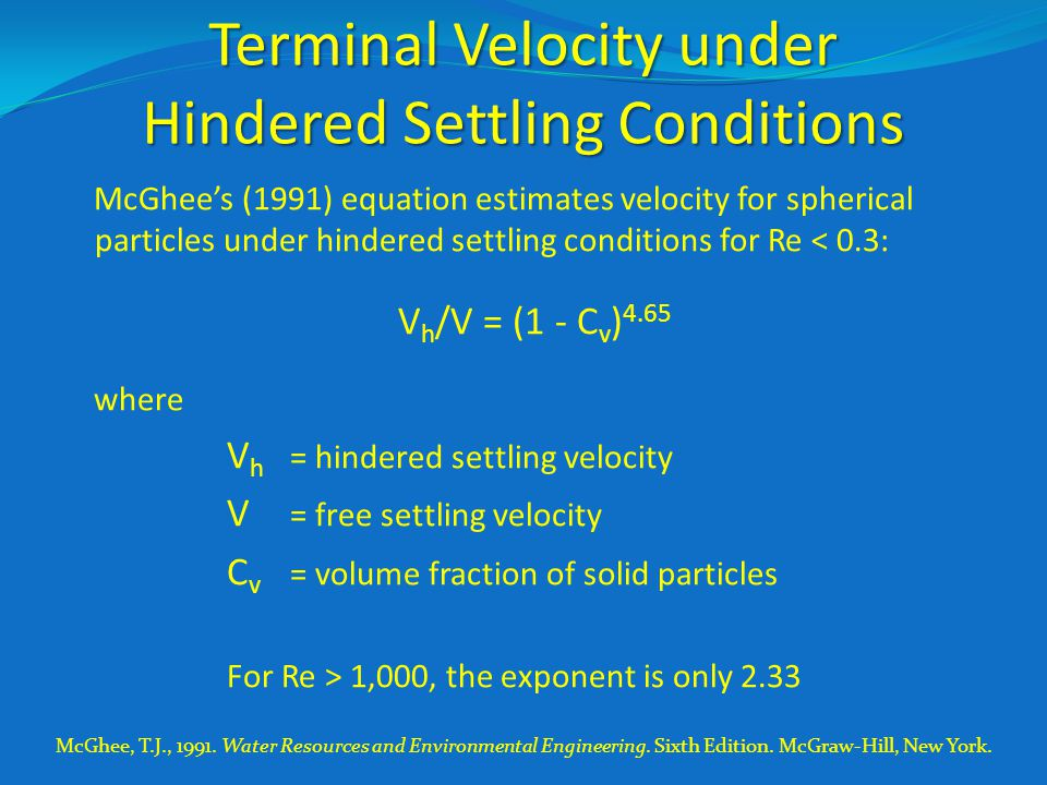 Terminal Velocity under Hindered Settling Conditions