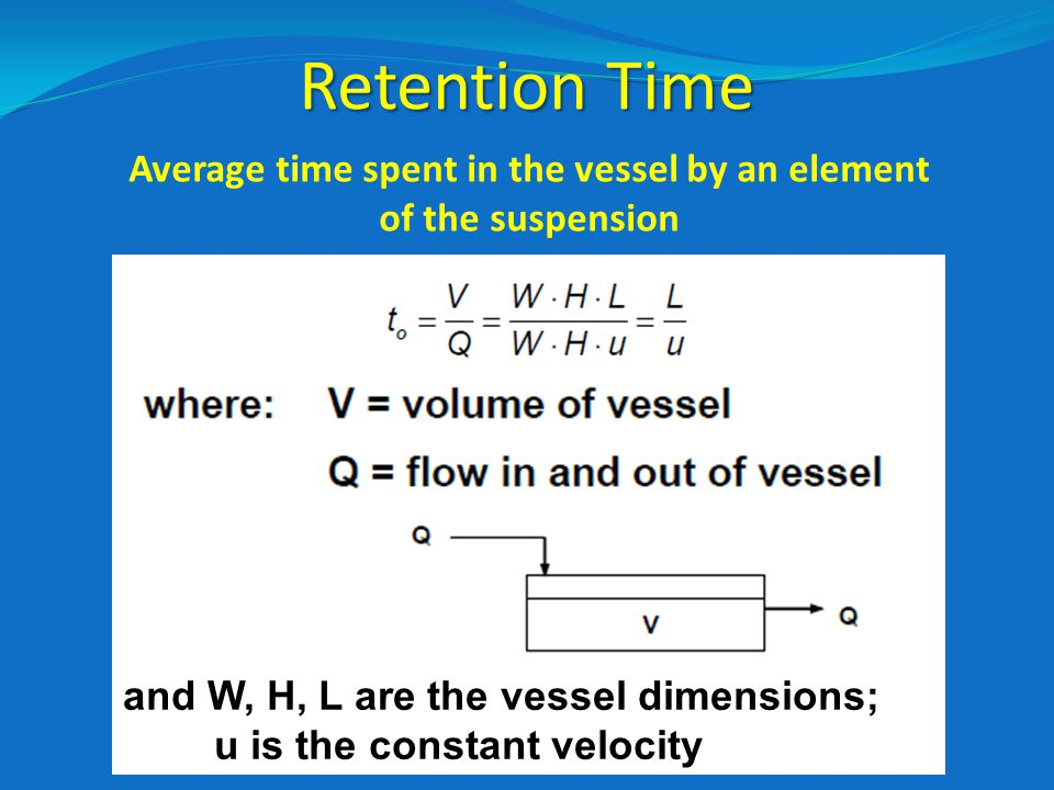 Average time spent in the vessel by an element of the suspension