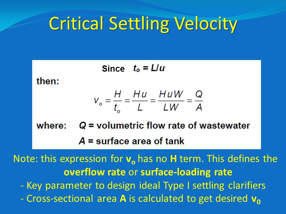 Critical Settling Velocity