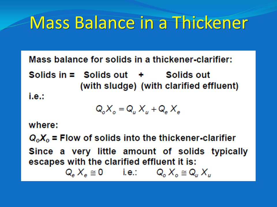 Mass Balance in a Thickener