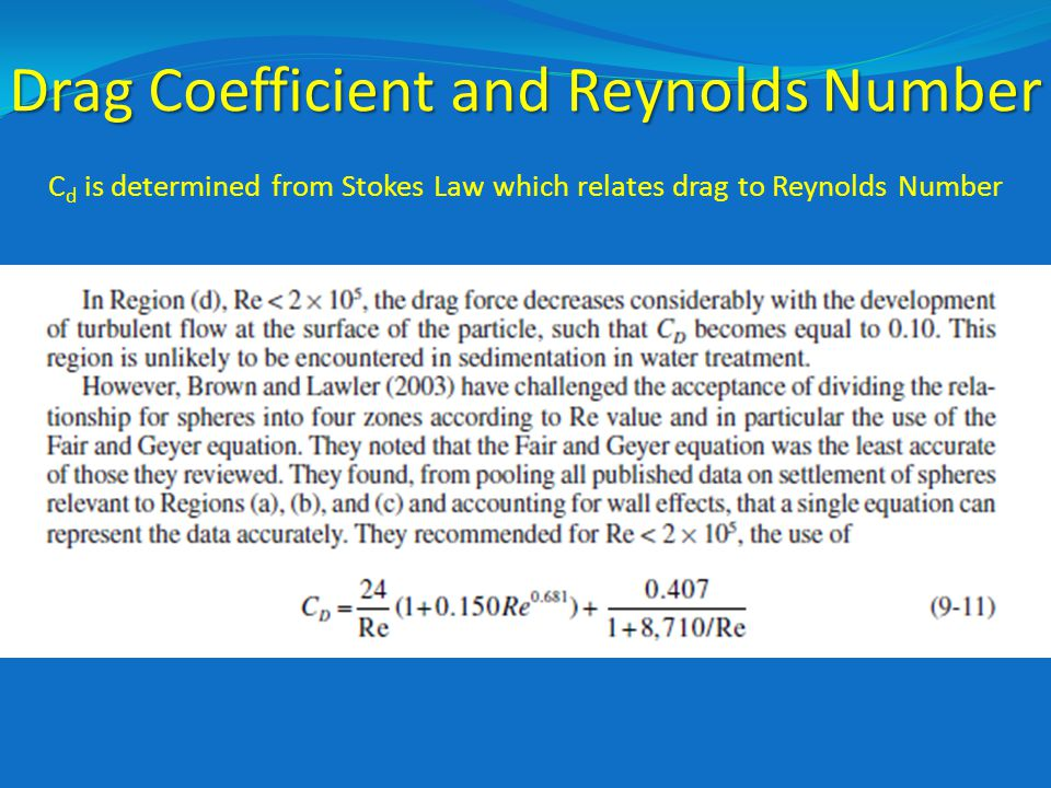 Drag Coefficient and Reynolds Number