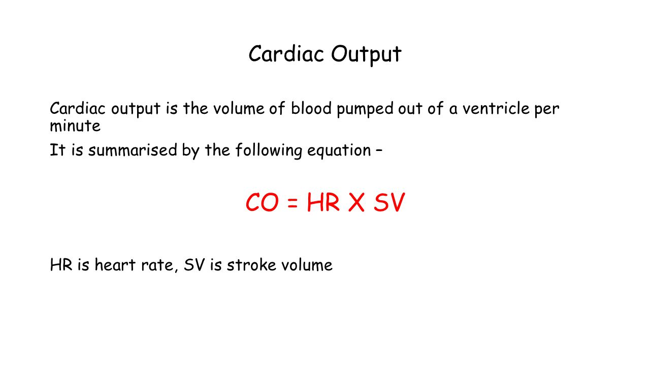 CO = HR X SV Cardiac Output