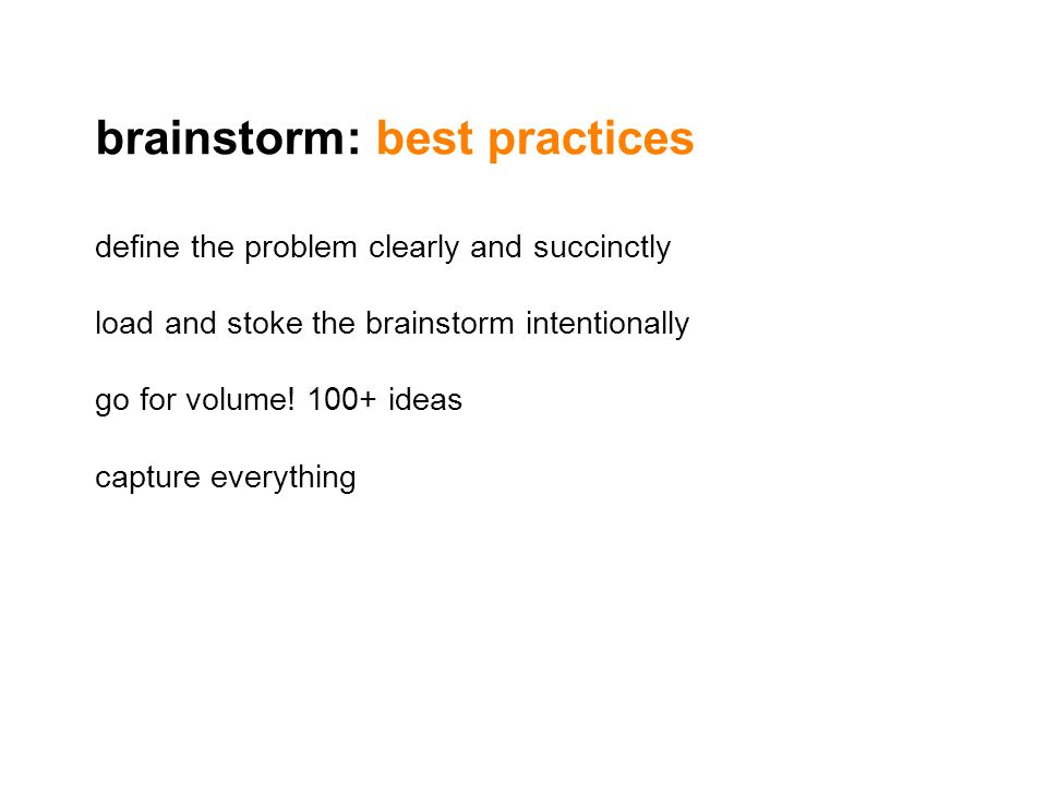 brainstorm: best practices