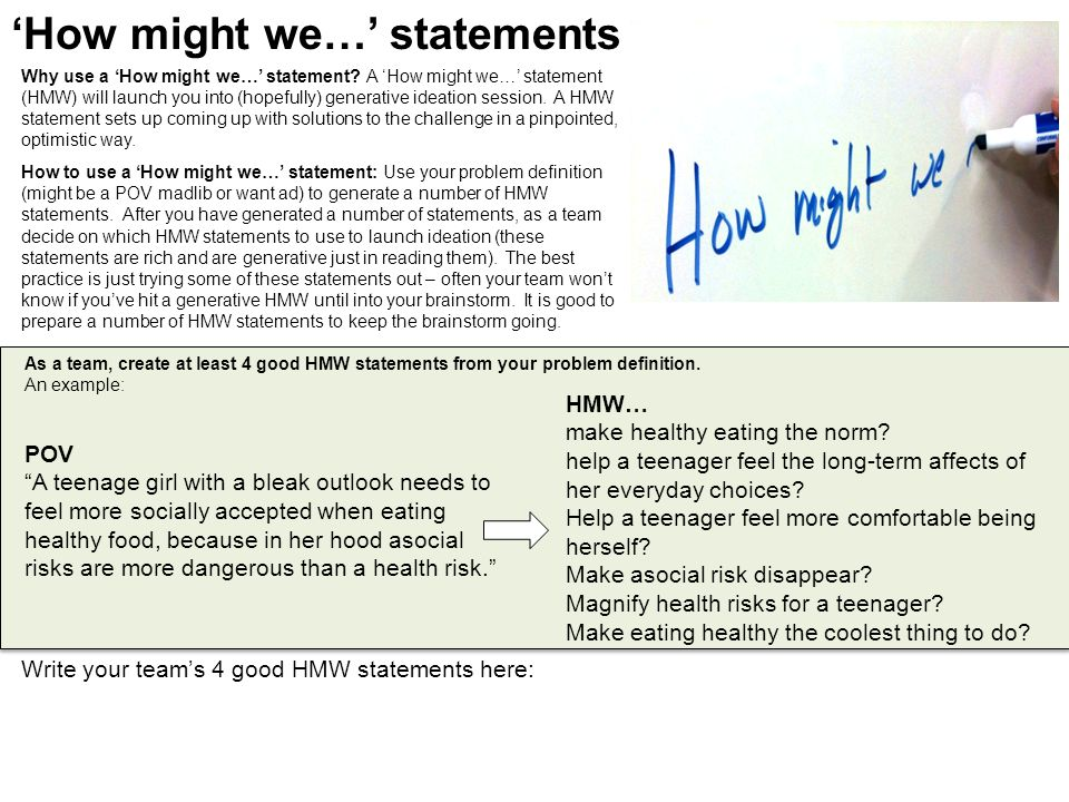 'How might we…' statements