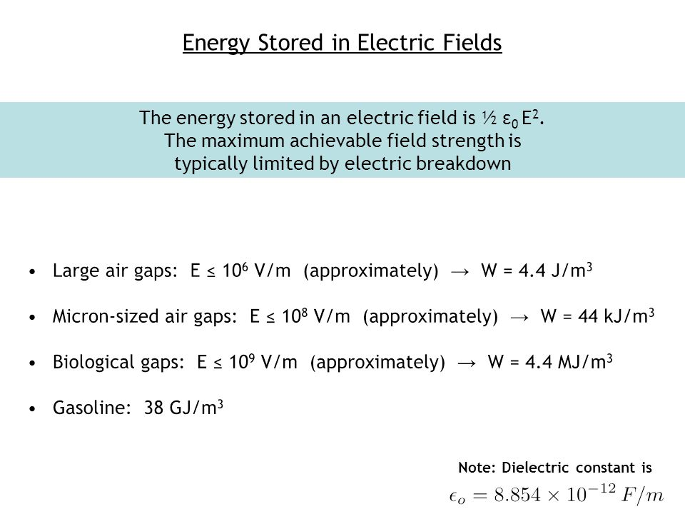 Energy Stored in Electric Fields