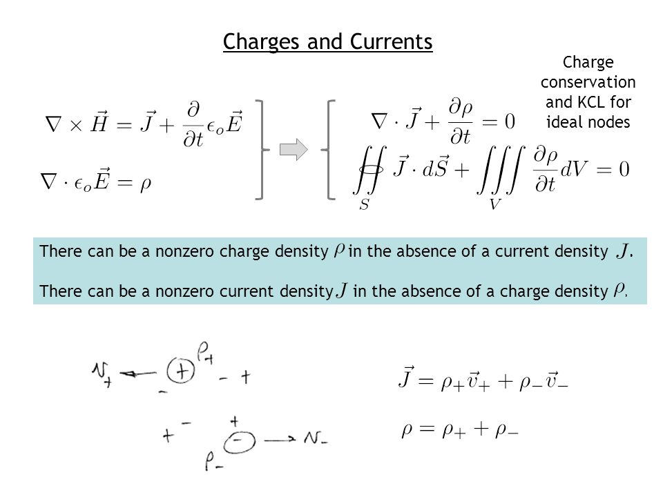 Charge conservation and KCL for ideal nodes