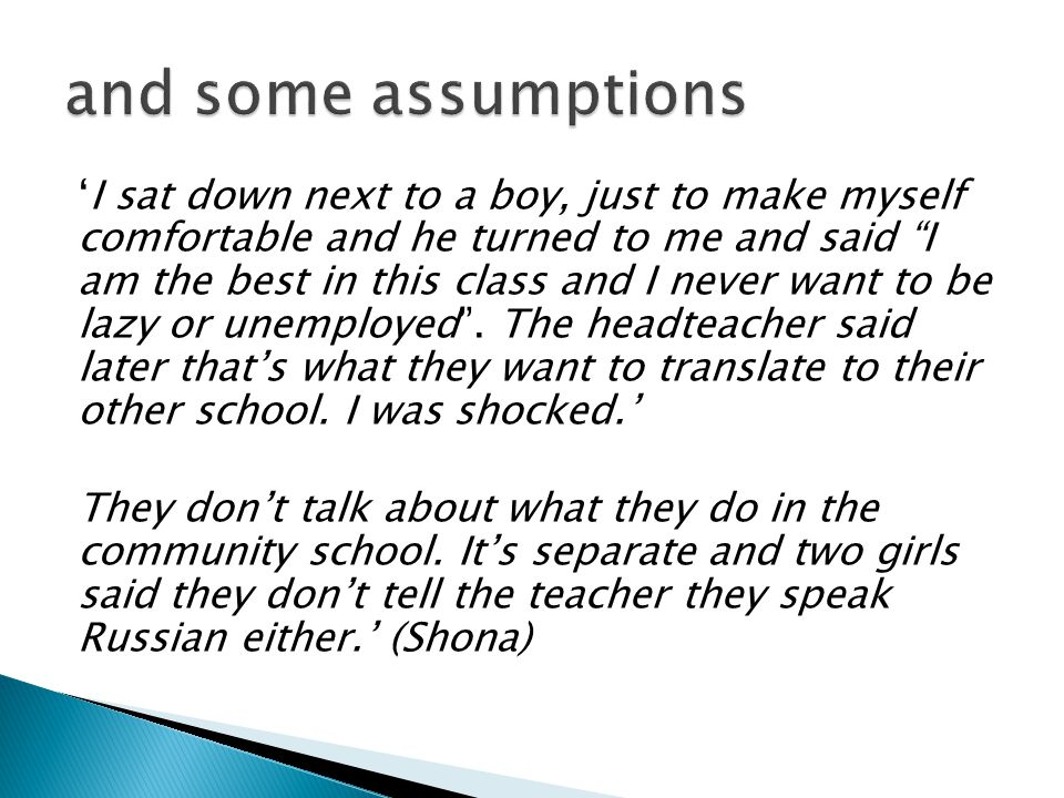 and some assumptions