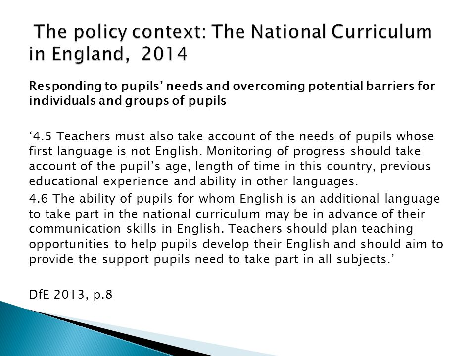 The policy context: The National Curriculum in England, 2014