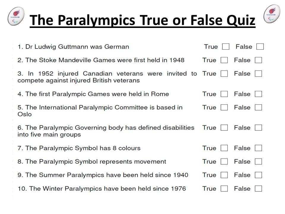 The Paralympics True or False Quiz