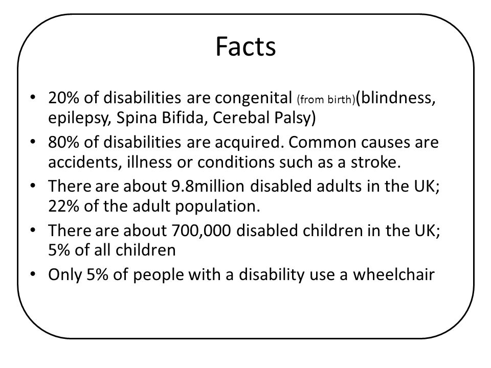 Facts 20% of disabilities are congenital (from birth)(blindness, epilepsy, Spina Bifida, Cerebal Palsy)