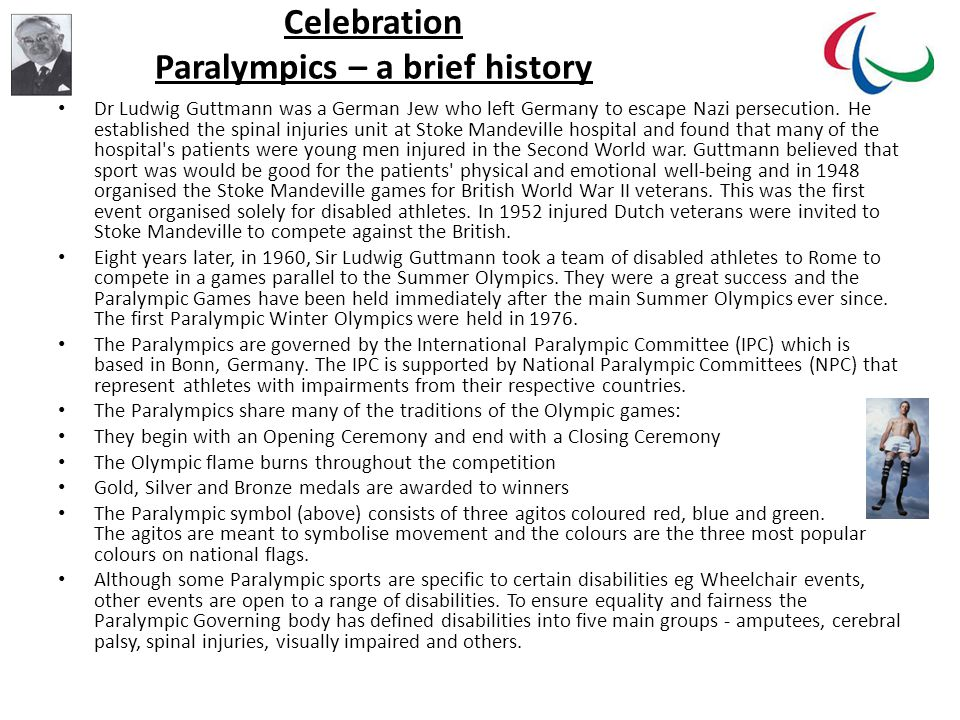 Celebration Paralympics – a brief history