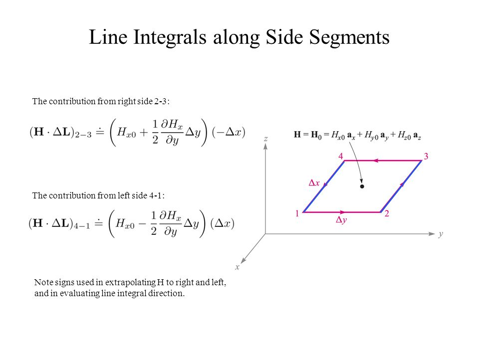 Line Integrals along Side Segments