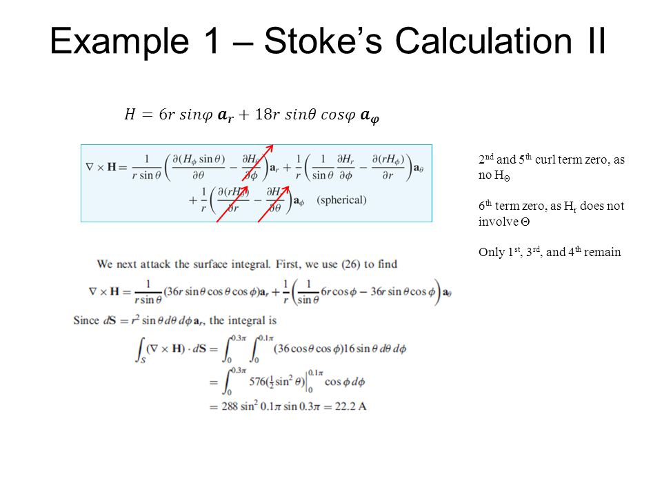 Example 1 – Stoke's Calculation II