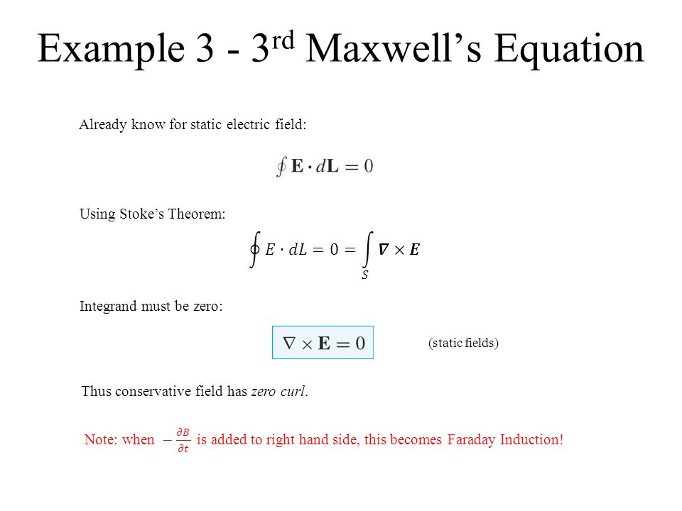 Example 3 - 3rd Maxwell's Equation