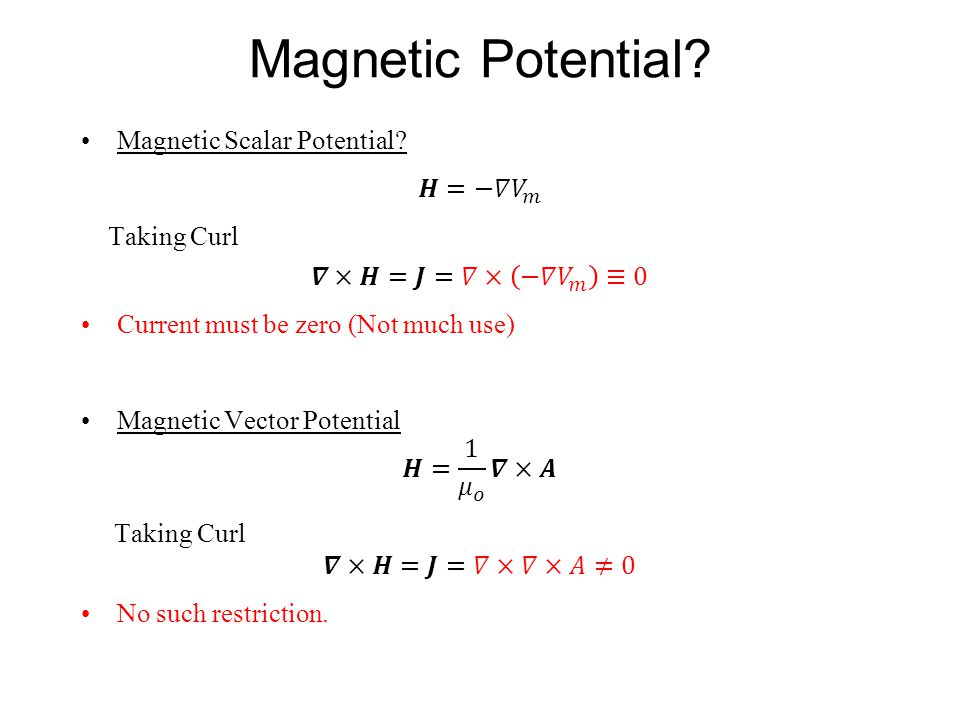 Magnetic Potential Magnetic Scalar Potential 𝑯=−𝛻 𝑉 𝑚 Taking Curl