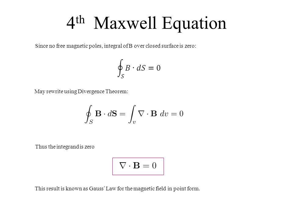 4th Maxwell Equation 𝑆 𝐵 ∙𝑑𝑆=0