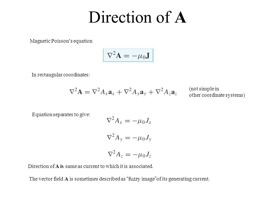 Direction of A Magnetic Poisson's equation In rectangular coordinates: