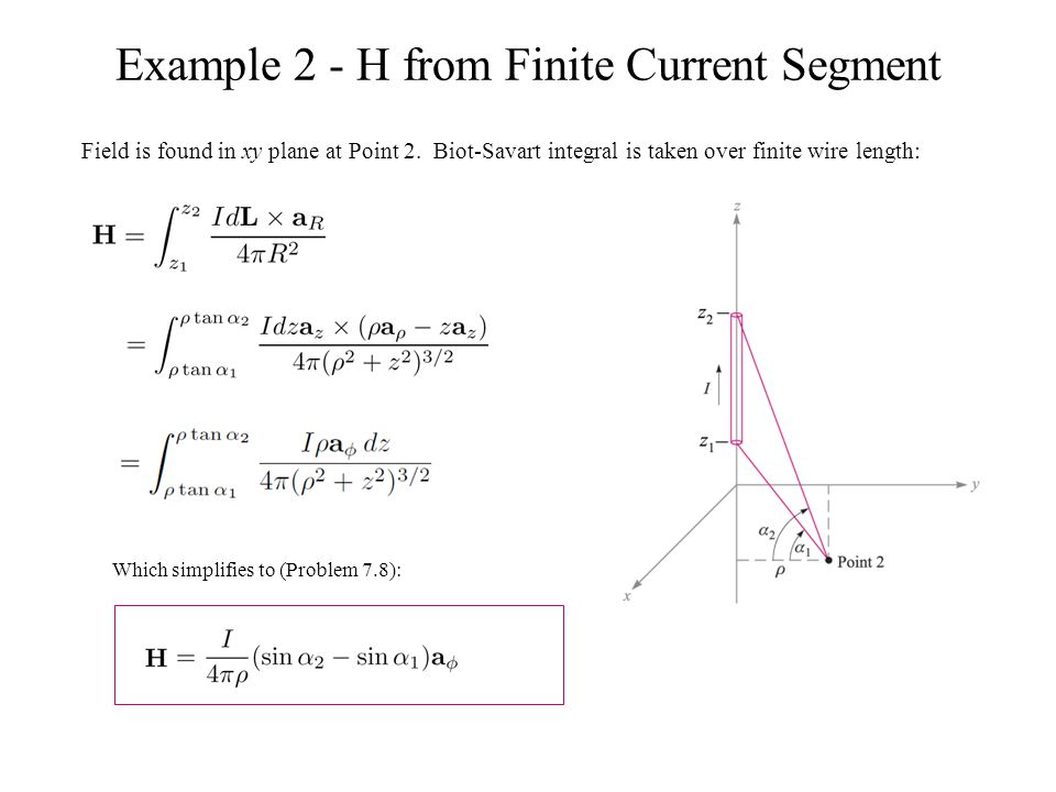 Example 2 - H from Finite Current Segment