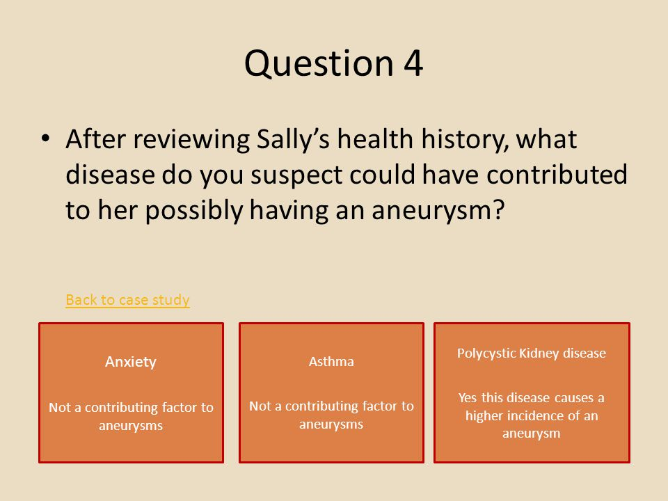 Question 4 After reviewing Sally's health history, what disease do you suspect could have contributed to her possibly having an aneurysm