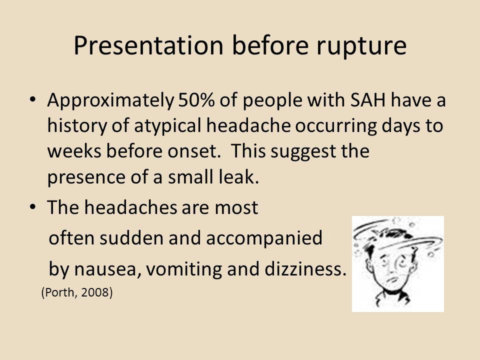 Presentation before rupture