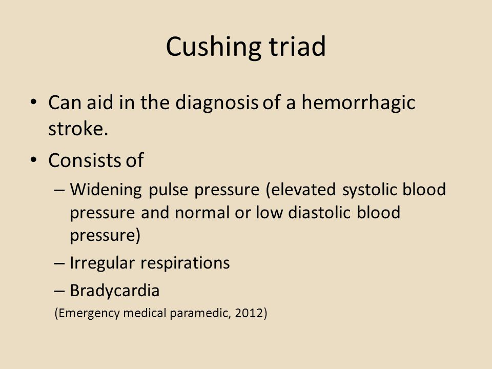 Cushing triad Can aid in the diagnosis of a hemorrhagic stroke.
