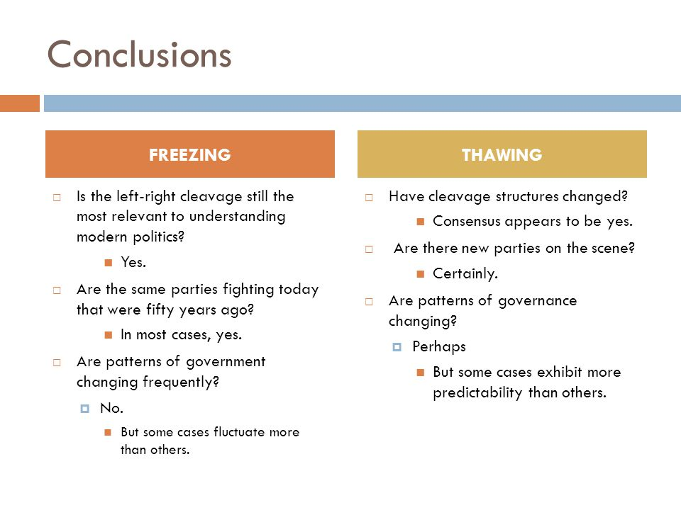 Conclusions FREEZING THAWING