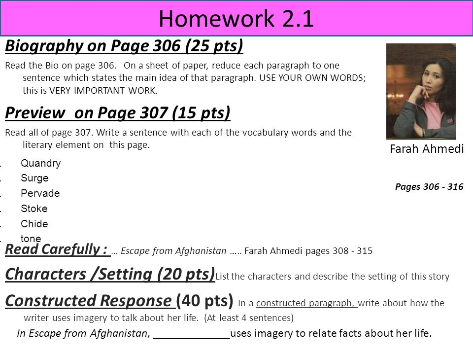 Homework 2.1 Biography on Page 306 (25 pts)