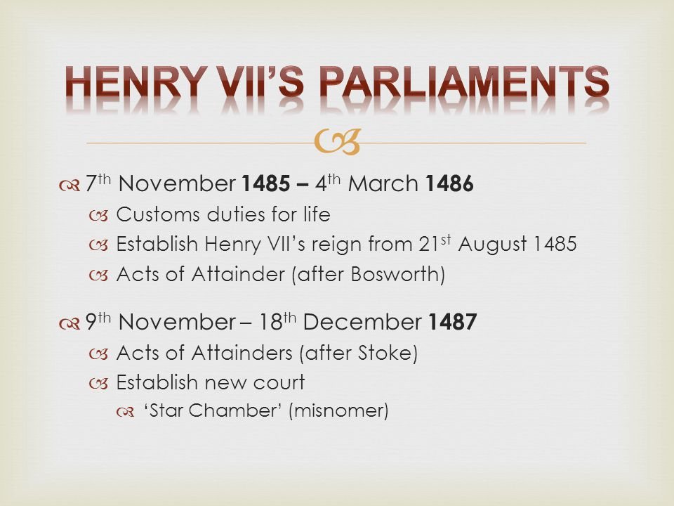 Henry VII's Parliaments