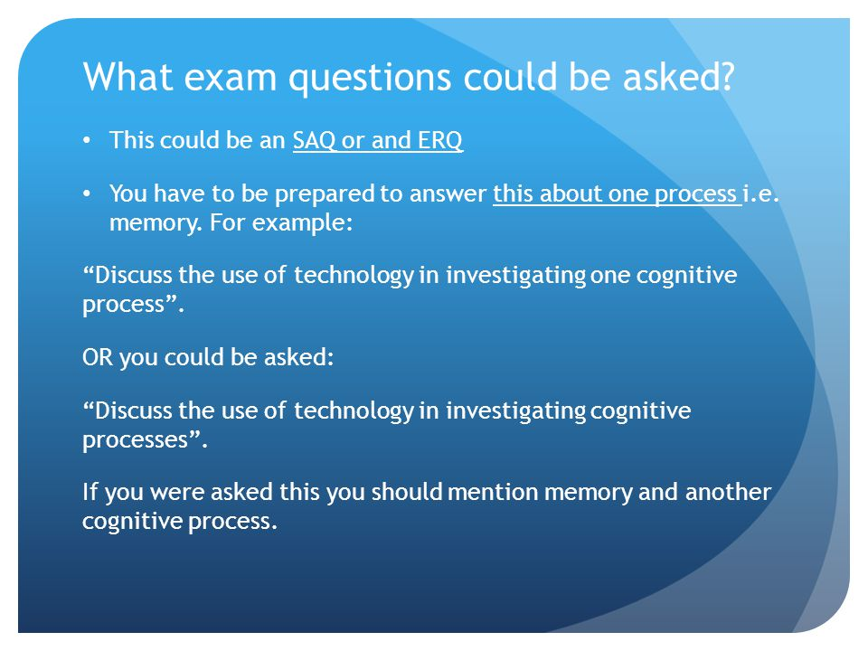 What exam questions could be asked