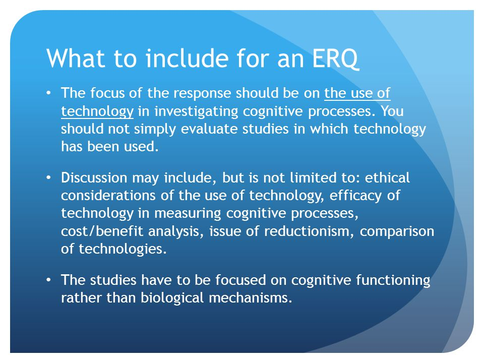What to include for an ERQ