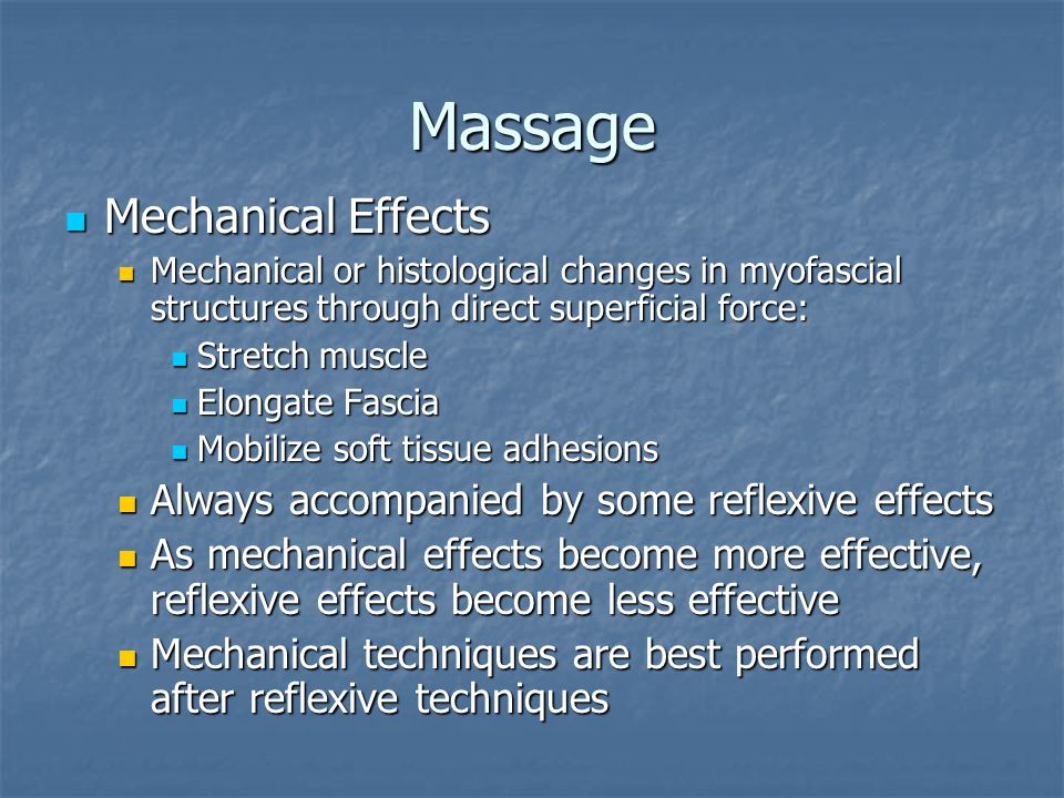 Massage Mechanical Effects