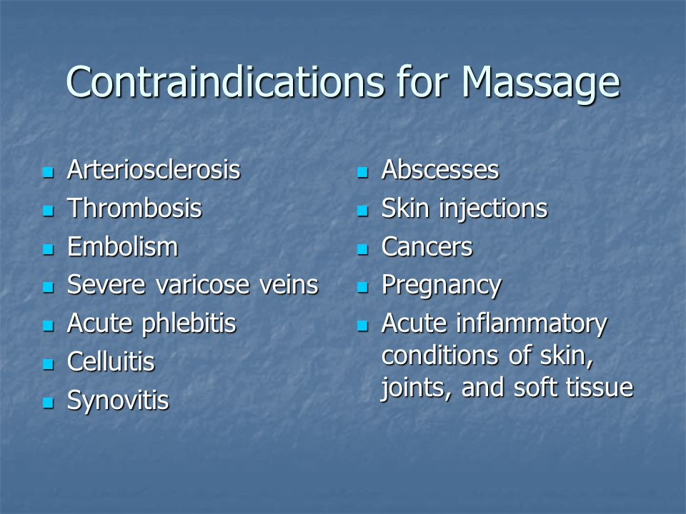 Contraindications for Massage