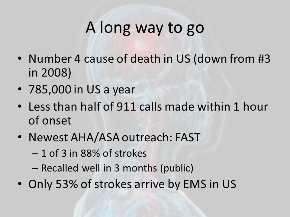 A long way to go Number 4 cause of death in US (down from #3 in 2008)