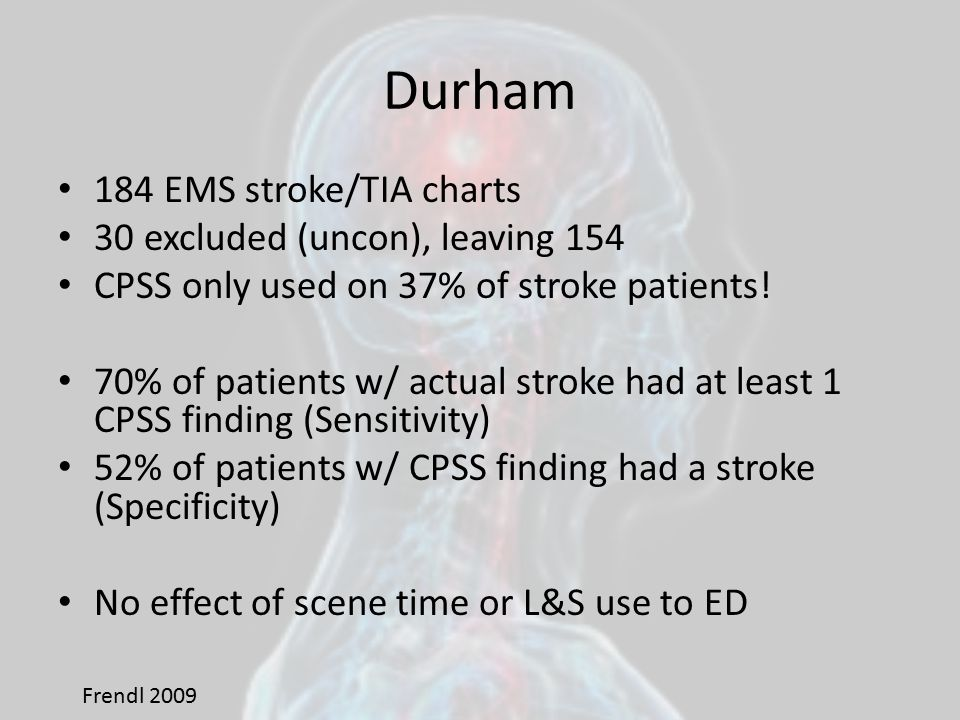 Durham 184 EMS stroke/TIA charts 30 excluded (uncon), leaving 154