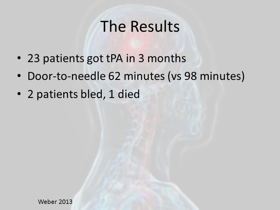 The Results 23 patients got tPA in 3 months