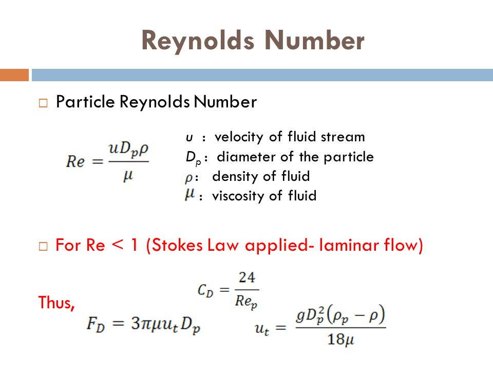 Reynolds Number Particle Reynolds Number