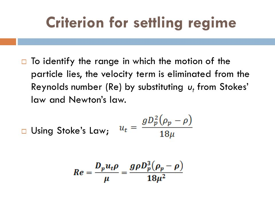Criterion for settling regime