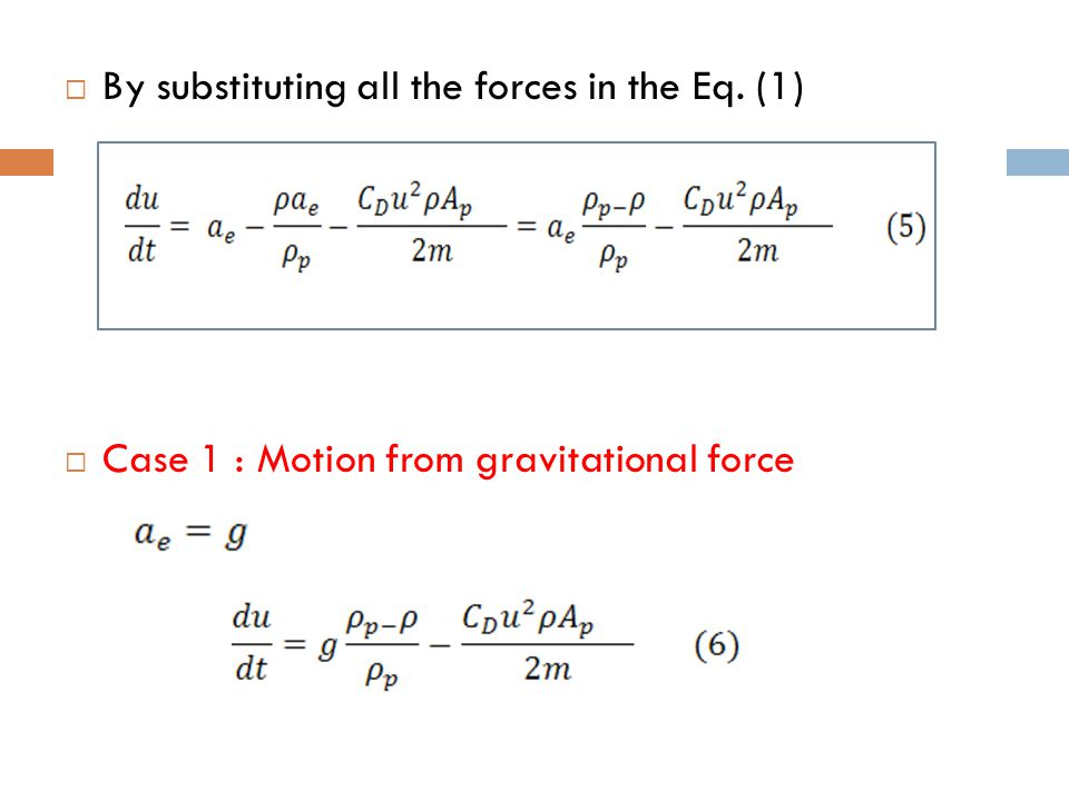 By substituting all the forces in the Eq. (1)